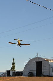 Crop Duster with powerlines