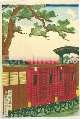 19th-century Japanese print of train