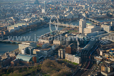 Aerial view of Waterloo Station and the London Eye, London