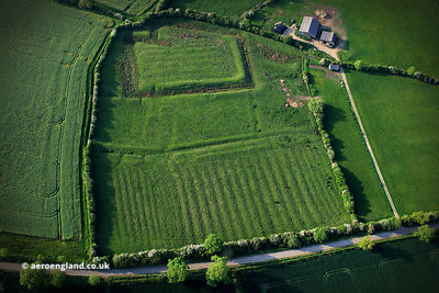Moated grange and enclosure at Owston from the air