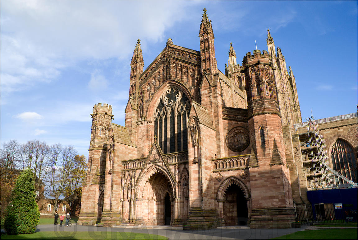 West front of Hereford Cathedral, Hereford, England.