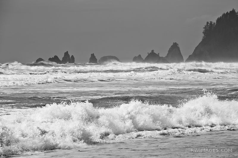 PACIFIC OCEAN RIALTO BEACH OLYMPIC NATIONAL PARK BLACK AND WHITE