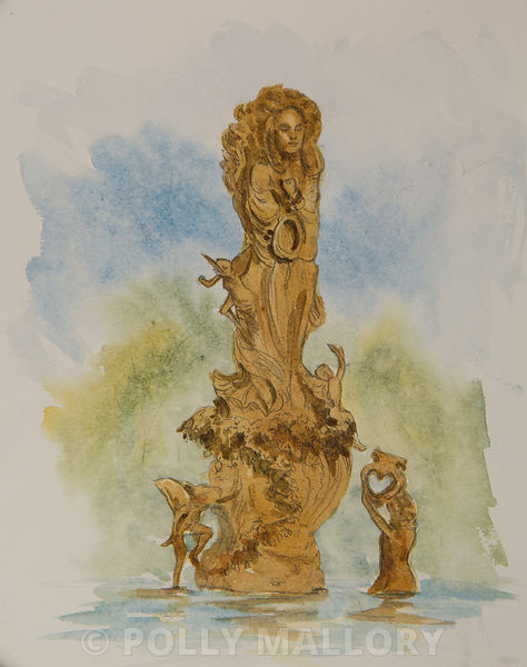 Midsummer_Play_Fountain_original_watercolor_illustration_17_x_21_framed_(495.00)
