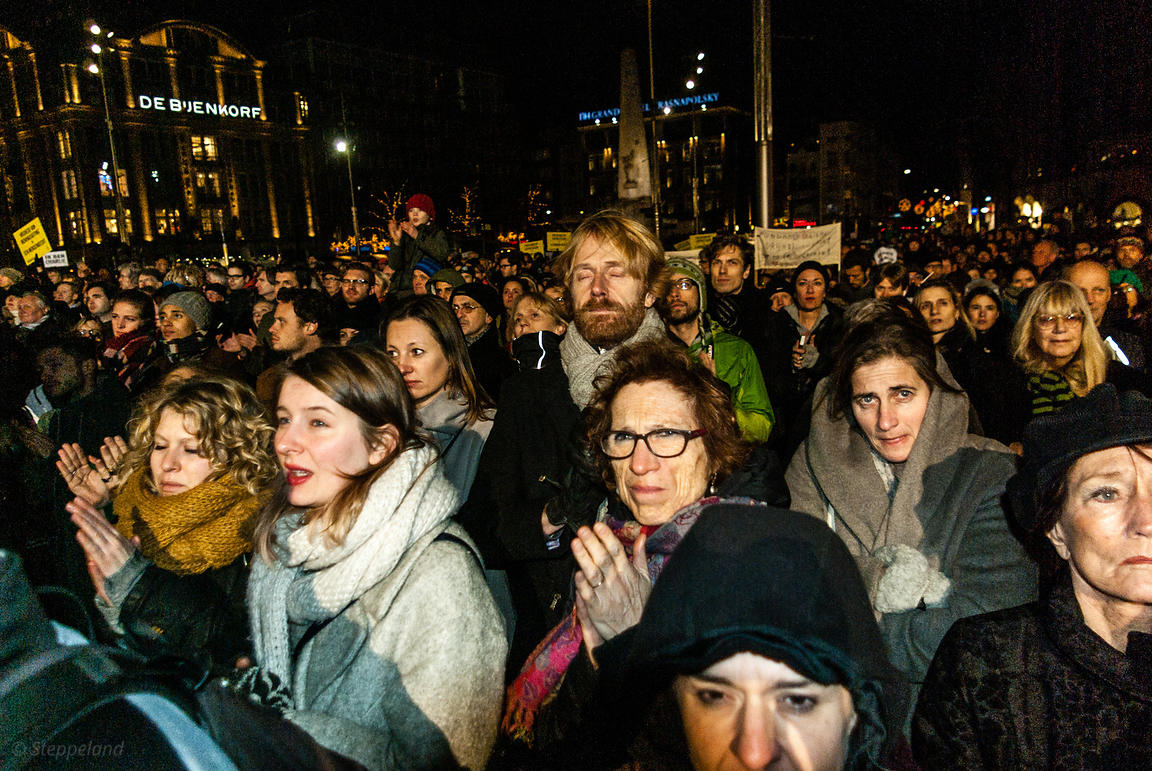 Amsterdam, Netherlands 2015-01-08: An estimated 18.000 people participated in the protest rally: 'Je suis Charlie'.