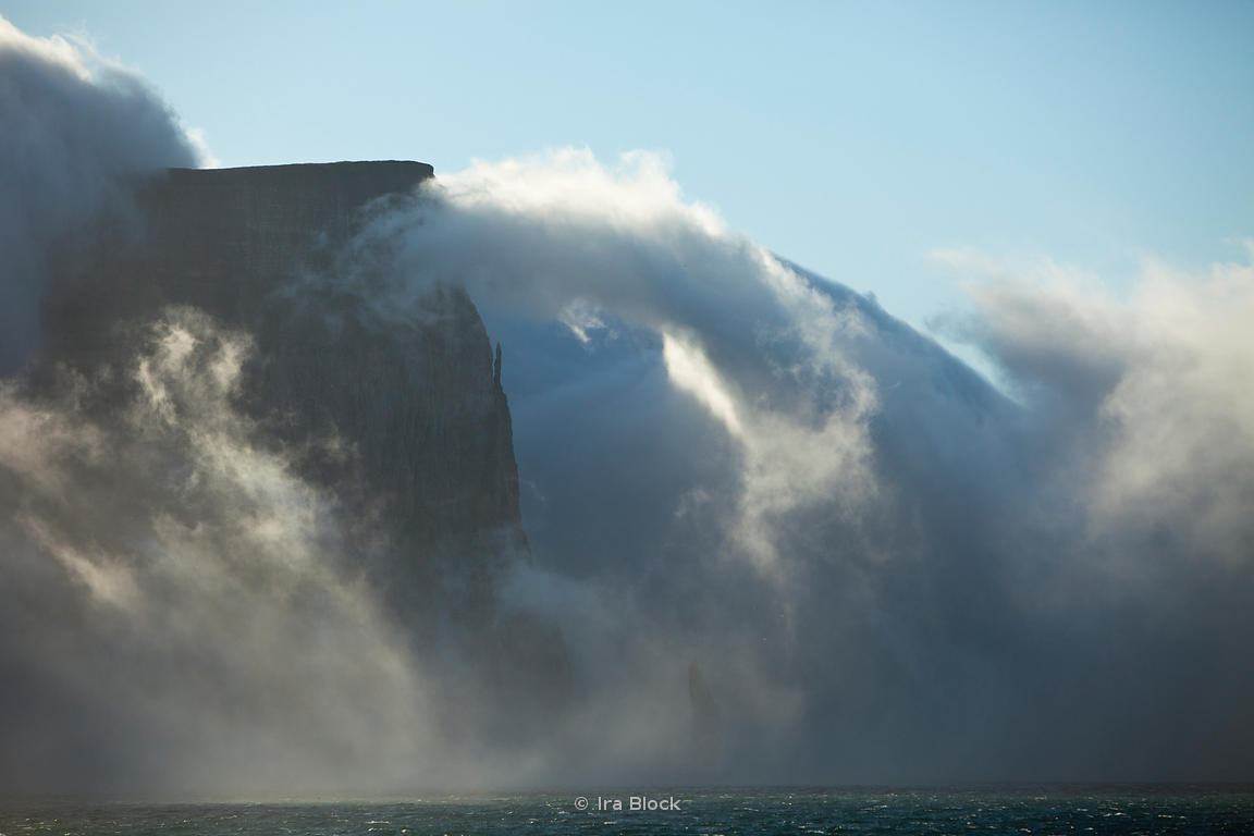 Foggy Bjornoya Island, located between Svalbard and mainland Norway.