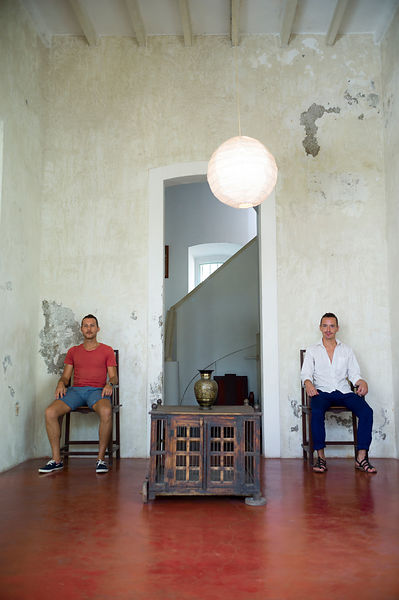 Benjamin Passicos and Gregory Lassus owners and Directors of the Villa Helena, an upscale Heritage Hotel, Pondicherry, India