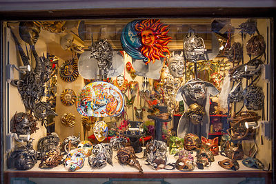 Shop WIndow with Futuristic and Science Fiction themed Venice Carnival Masks