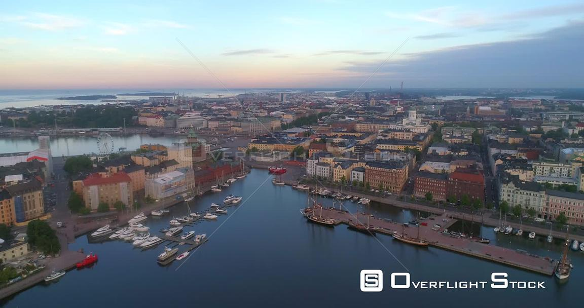 The Coast of Helsinki, Aerial View Towards the Cityscape and Churches of Helsingfors, on a Sunny Summer Morning Dawn, in Helsinki, Uusimaa, Finland