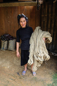 Hmong Woman with Bundle of Hemp Fibers