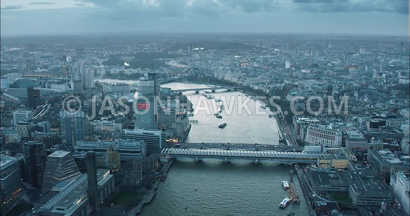 London Aerial Footage of River Thames from Millennium Bridge to Waterloo Bridge.
