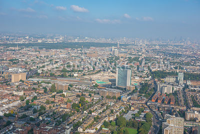 Aerial view of London, West Kensington and Brompton towards Hyde Park and Victoria.