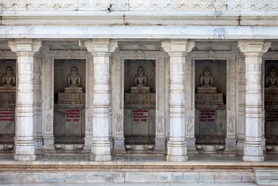 Seldom-visited centuries-old Jain temple in downtown Udaipur, Rajasthan, India. Off the beaten track but a magnificent temple.