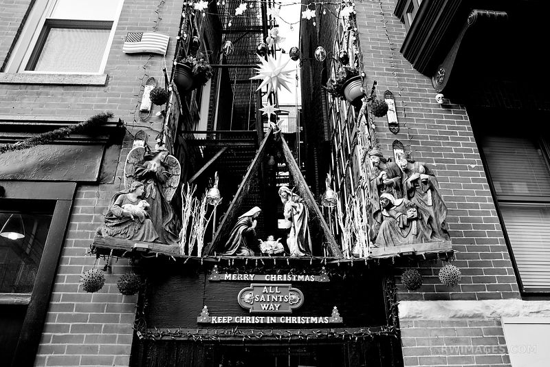 MERRY CHRISTMAS ALL SAINTS WAY NORTH END OF BOSTON BLACK AND WHITE