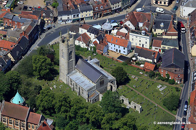 aerial photograph of  St Mary's  Church and Priory Ruins in Suffolk England UK
