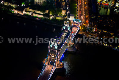 Aerial view of Tower Bridge at night, London