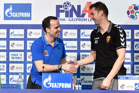 Xavier SABATE of MVM VESZPREM, Raul GONZALES of Vardar during the Final Tournament - Final Four - SEHA - Gazprom league, Finals press conference Varazdin, Croatia, 02.04.2016, ..Mandatory Credit ©SEHA/Nebojša Tejić