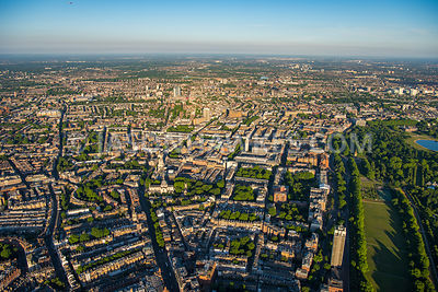 Aerial view of London, Royal Albert Hall with Natural History Museum and Victoria and Albert Museum from Hyde Park.