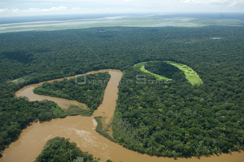 Aerial view of Grande / Guapay river and its oxbow lakes, near the border with the Beni Department,  Santa Cruz Department, Eastern Bolivia.