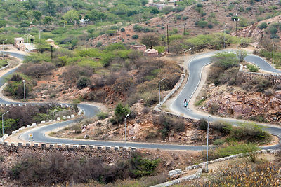 Winding road leading to Taragarh Fort, Ajmer, Rajasthan, India