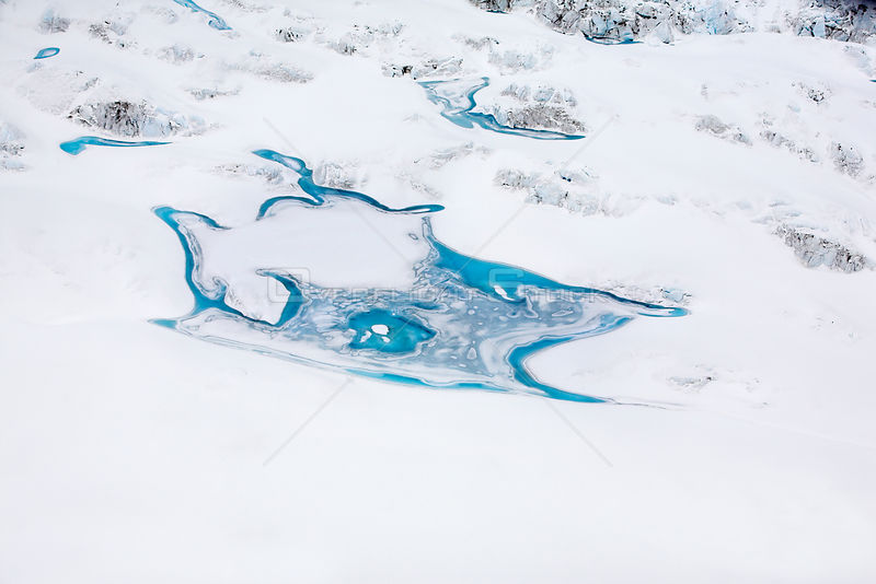 Aerial view of meltwater patterns on Peters Glacier, South Georgia, Antarctica, December 2006