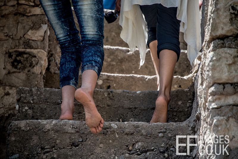 No shoes allowed in the Lalish temple complex, so those celebrating Sere Sal or Yazidi New Year go barefoot. Iraqi Kurdistan, 19th April 2017