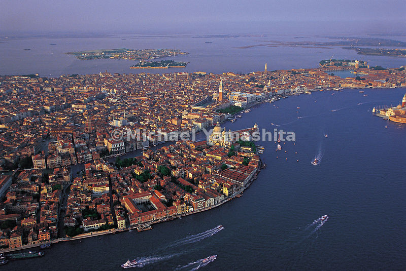 An aerial view of the city of Venice.