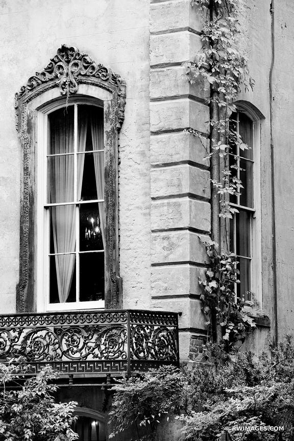 VINTAGE WINDOW HISTORIC SAVANNAH GEORGIA ARCHITECTURE BLACK AND WHITE VERTICAL