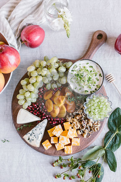 Cheese board with fruits
