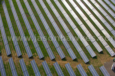 Aerial view of Solar Farm, Hampshire, United Kingdom