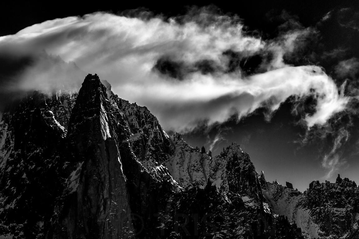 The Dragon Cloud over Aiguille Verte and Aiguille Dru