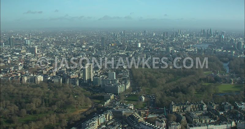 London Aerial footage, Hyde Park Corner towards St James's.