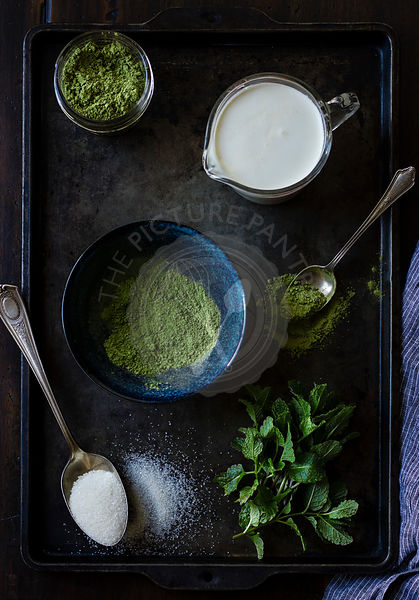 The recipe for matcha mint choc chip ice cream