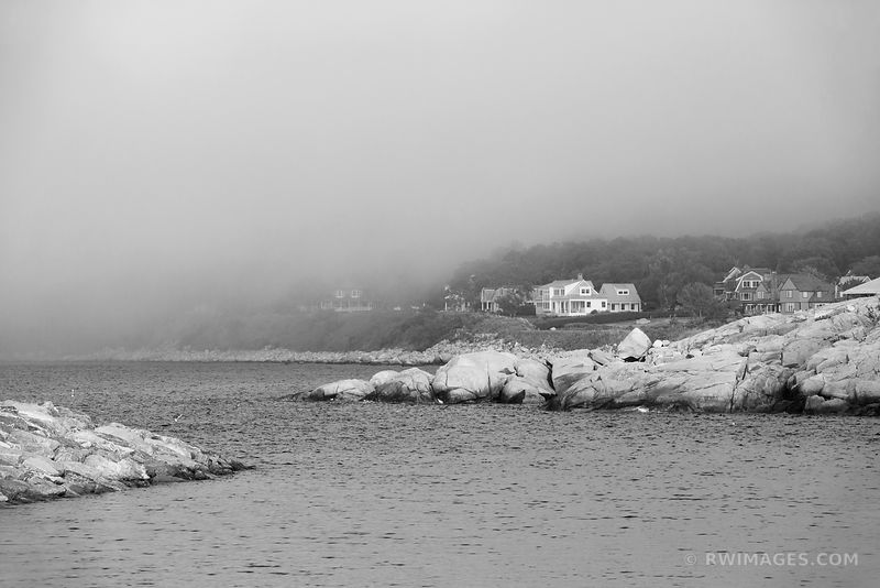 FOG ROCKPORT FISHING VILLAGE CAPE ANN MASSACHUSETTS BLACK AND WHITE