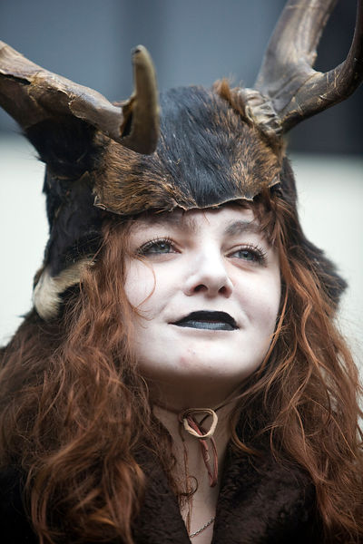 UK - London - A performer dressed as a stag from The Lions Part company - actors connected with London's Globe Theatre - acts in an annual traditional free theatre celebrating a 'wassail' celebration to herald the new year
