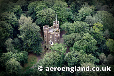 aerial photograph of Severndroog Castle Oxleas Wood Shooters Hill London England UK