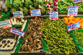 Morel Mushrooms and Fern Fiddleheads for Sale in the Pike Place Market
