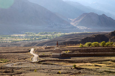 Road leading from the Indus River to Hemis Gompa, Ladakh, India