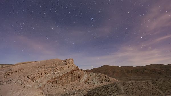 Medium Shot: Red Rock Formations, a Sunset, & a Sky Full of Stars (Day To Night)