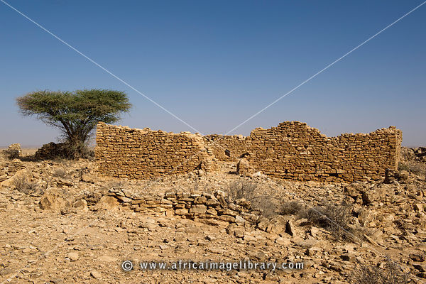 remains of a mosque in  ruined medieval town at Maduna, Somaliland, Somalia