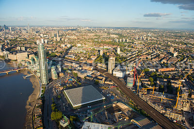 Aerial view of Nine Elms redevelopment, London