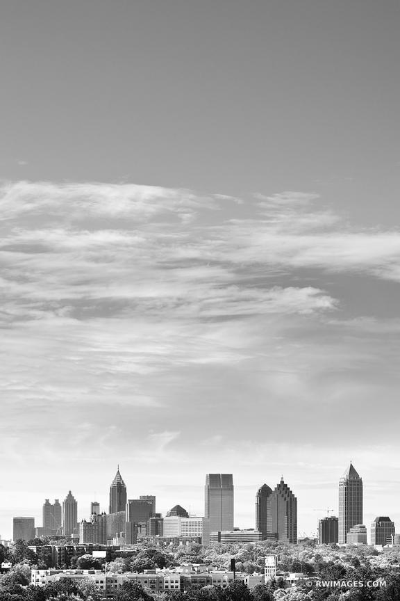 DOWNTOWN ATLANTA SKYLINE BLACK AND WHITE VERTICAL