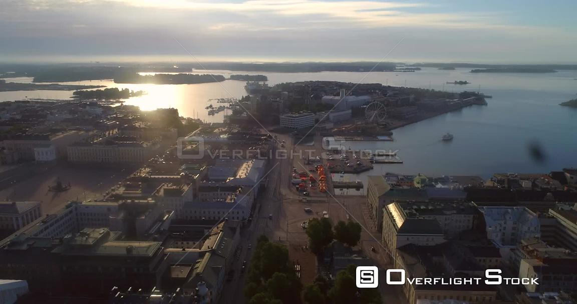 Helsinki City, Aerial View Backwards of Kauppatori Market Square, the South Harbour and Katajanokka Bay, on a Sunny Summer Morning Dawn, in Helsingfors, Uusimaa, Finland