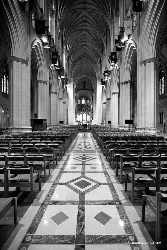 WASHINGTON NATIONAL CATHEDRAL INTERIOR WASHINGTON DC BLACK AND WHITE VERTICAL