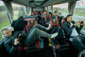 Petar ANGELOV, Alex DUJSHEBAEV of Vardar during the Final Tournament - Final Four - SEHA - Gazprom league, team arrival in Varazdin, Croatia, 30.03.2016, ..Mandatory Credit ©SEHA/Stanko Gruden
