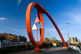 Steel Wave sculpture by Peter Fink, Newport, Gwent, South Wales .