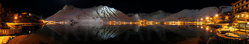 Night Reflections on the Tignes lake