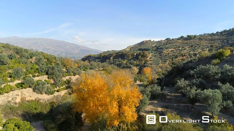 Drone Video Autumn Valley near Granada Spain