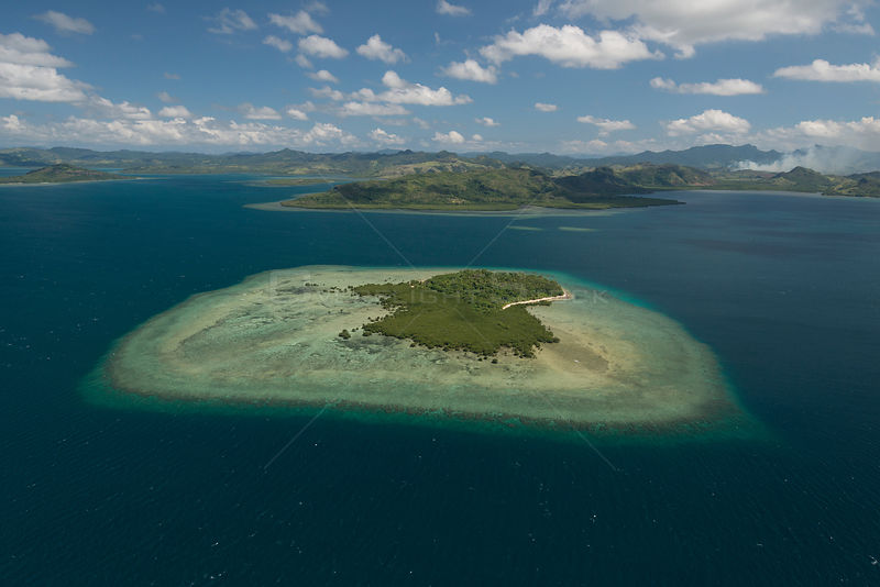Aerial view of Nukuvadra Island, Northern Division, Vanua Levu, Fiji. December 2013.