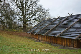 The Cathlapotle Plankhouse, a representation of a traditional native dwelling seen near here by Lewis and Clark, Ridgefield National Wildlife Refuge, Ridgefield, Washington, USA, November, 2008_WA_1589