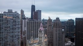 Bird's Eye: Wide Shot - Hours of Gray Weather Over Gothic & Modern High-rises